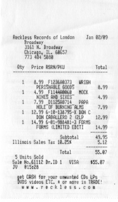 Receipt of trip to Reckless Records Broadway location