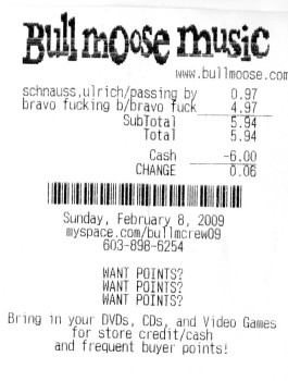 Receipt of trip to Bull Moose Music in Salem, NH