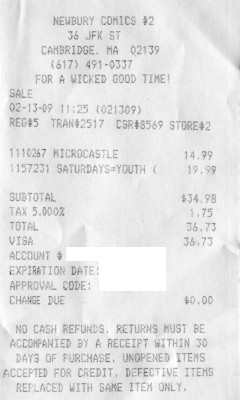 Receipt of a trip the Harvard Square Newbury Comics